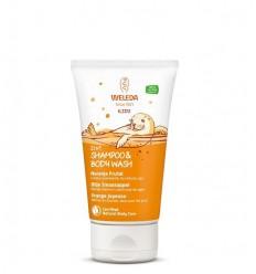 Weleda Kids 2 in 1 shampoo & body wash blije sinaasappel 150 ml   € 5.21   Superfoodstore.nl