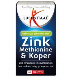 Lucovitaal Zink methionine & koper 60 tabletten | € 8.89 | Superfoodstore.nl