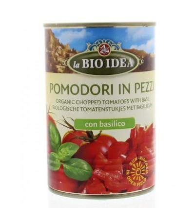 Bioidea Tomatenstukjes basilicum 400 gram | € 1.16 | Superfoodstore.nl