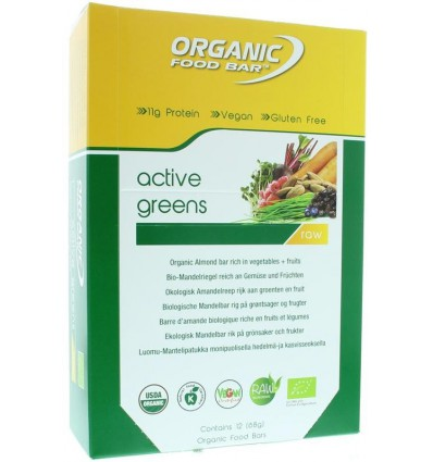 Organic Food Bar Bar active greens 68 gram 12 stuks