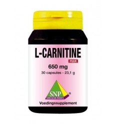 SNP L-Carnitine 650 mg puur 30 capsules | € 25.26 | Superfoodstore.nl