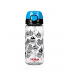Nuby Beker zacht rietje drukknop blauw 530 ml 3 jr+ | € 13.91 | Superfoodstore.nl