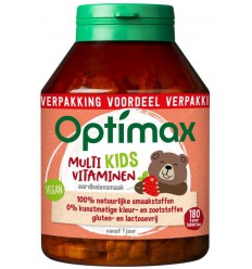 Optimax Kinder multi aardbei 180 kauwtabletten | € 17.19 | Superfoodstore.nl