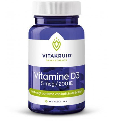 Vitakruid Vitamine D3 5 mcg 250 tabletten | € 15.25 | Superfoodstore.nl