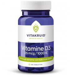 Vitakruid Vitamine D3 25 mcg 120 tabletten | € 12.81 | Superfoodstore.nl