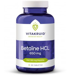 Vitakruid Betaine HCL 650 mg & pepsine 160 mg 120 tabletten | € 22.85 | Superfoodstore.nl