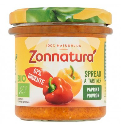 Zonnatura Groentespread paprika 135 gram