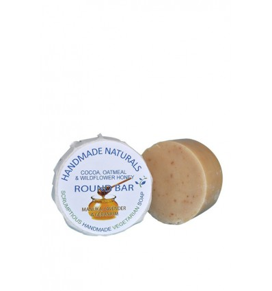 Handmade Naturals Handgemaakte ronde zeep Cacao Havermout Manuka